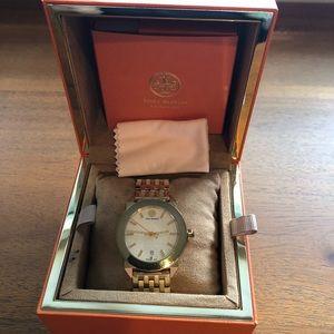 Tory Burch gold tone women's watch with date VGUC